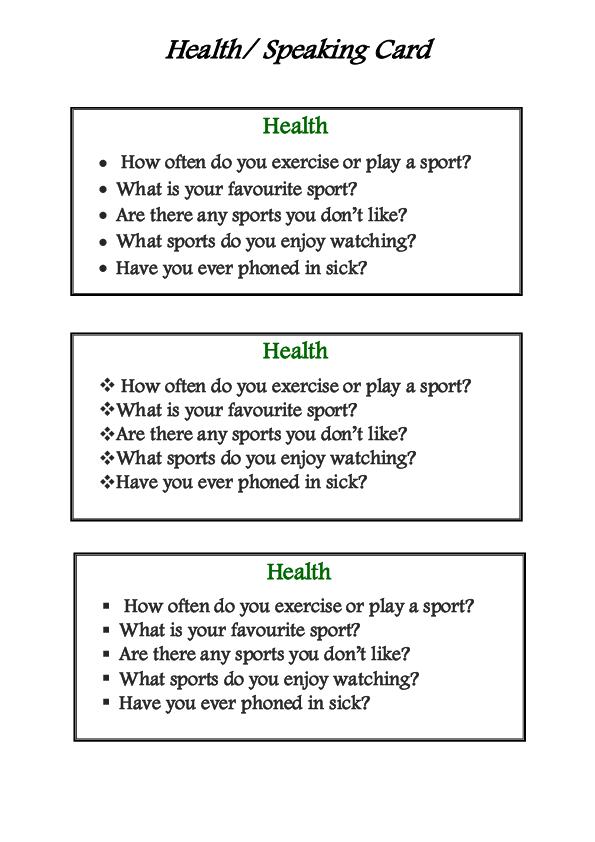 Speaking Card Health Language Skills Pinterest Worksheets