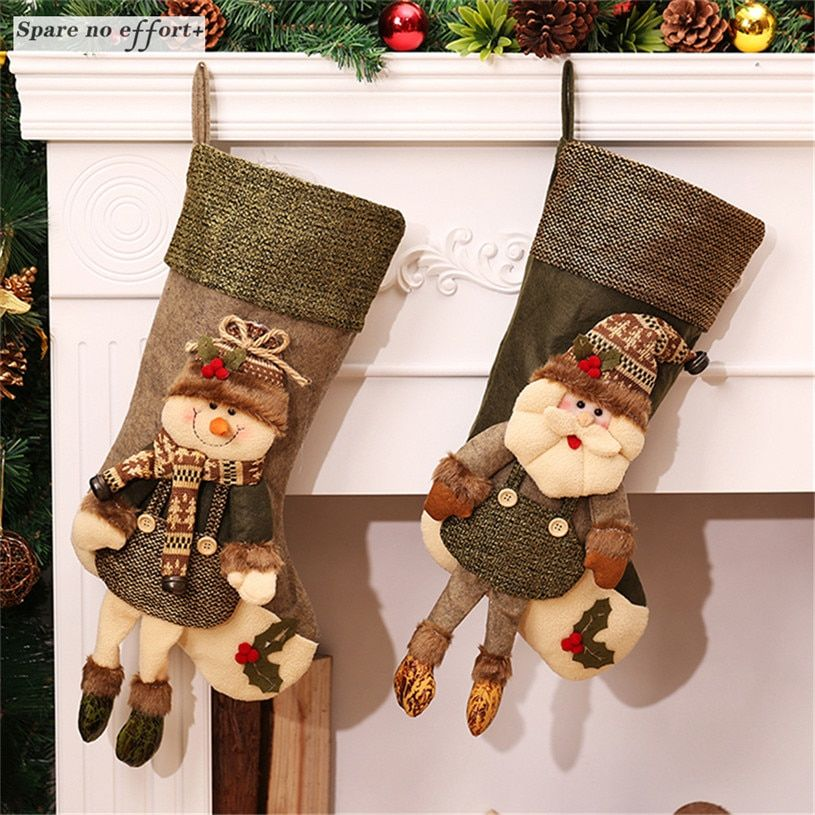 Christmas Stockings Sock Xmas Tree Candy Gift Bag Swedish Santa Gnome Hanging