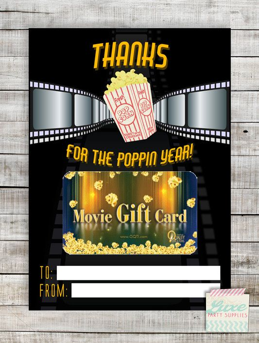 INSTANT DOWNLOAD Printable Teacher Movie Gift Card Holder Poppin - copy custom gift certificates with stub