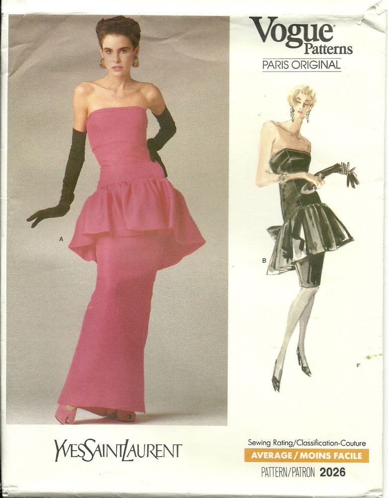 7717c894580 Vogue 2026 Yves Saint Laurent 1988 Sz8 Evening Dress Gown Dress, mid-knee  or evening length, has close-fitting, lined, boned, shaped dropped waist  bodice ...