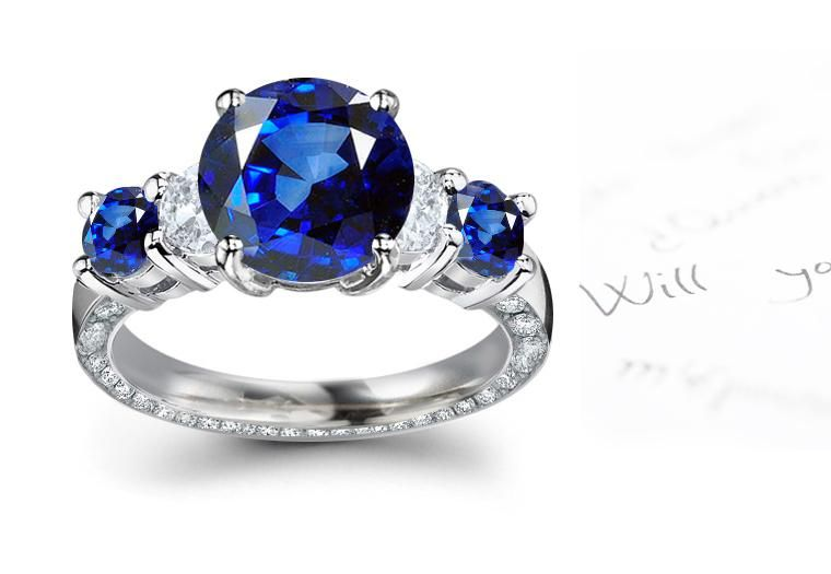 Art Deco Engagement Rings Sapphire Accents 44