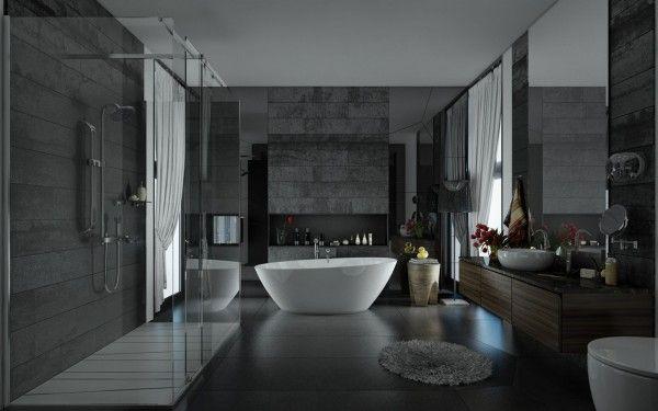 salles de bains connectes la nature - Salle De Bain Design Gris