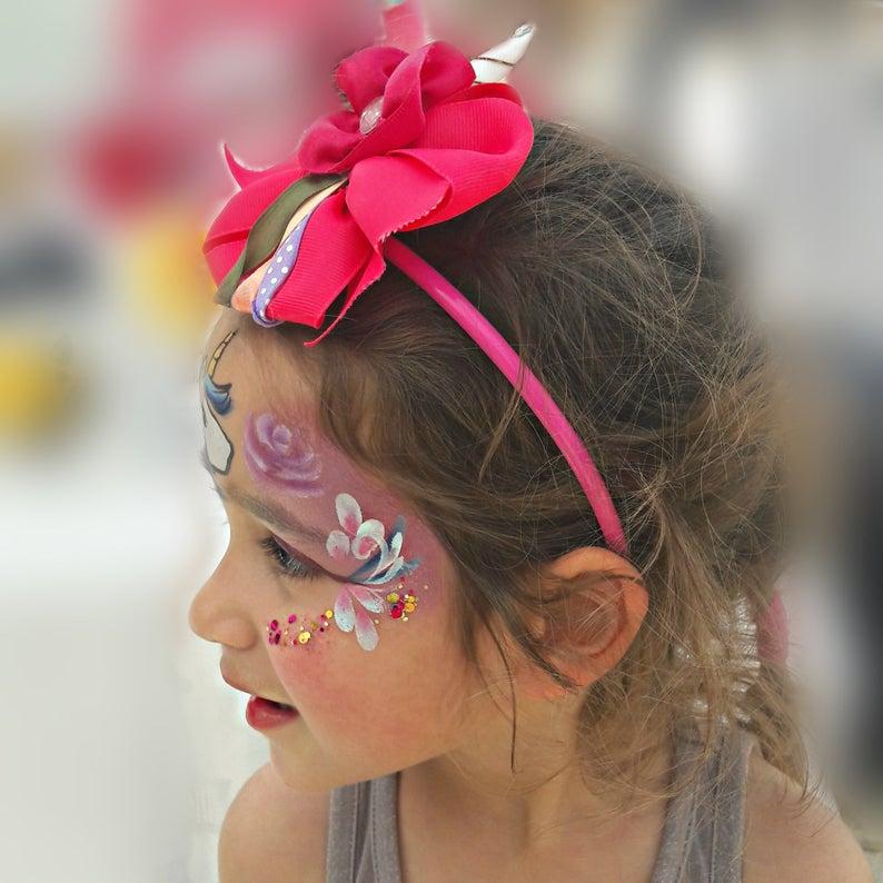Magical Unicorn horn headband for kids children, Red unicorn flower horn girl's headwear, Unicorn birthday hair