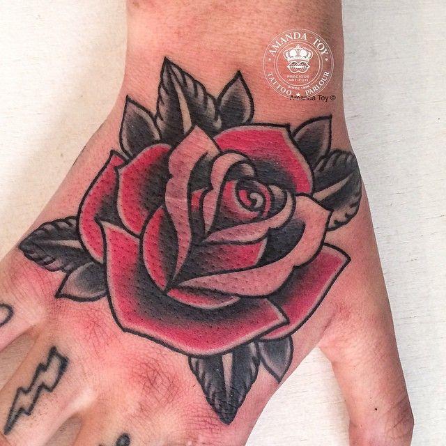 Fuckyeahhandtattoos Amanda Toy Rose Hand Tattoo Traditional Rose Tattoos Rose Tattoos
