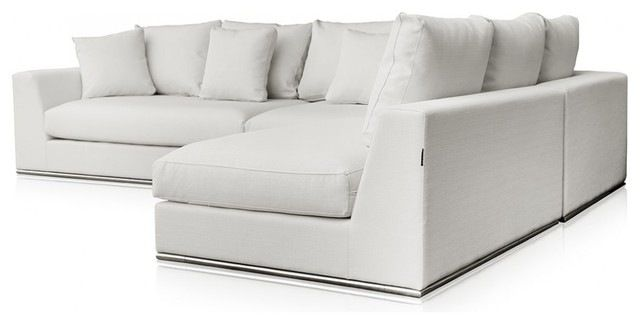 Modani Giovani White Fabric Sofa modern-sectional-sofas