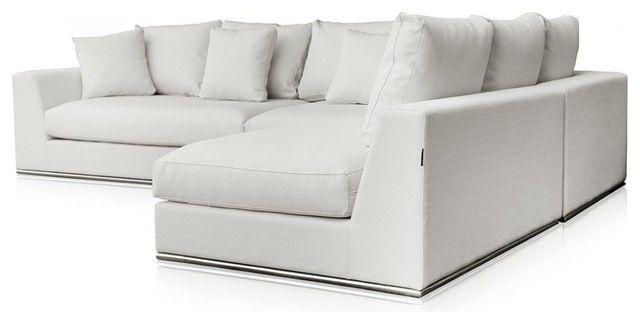Charming Modani Giovani White Fabric Sofa Modern Sectional Sofas