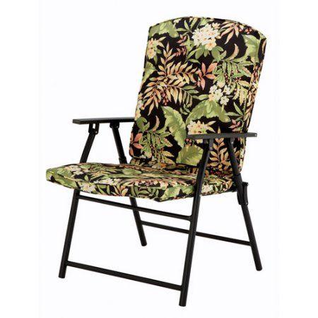 Mainstays Padded Fabric Folding Chair Black Tropical
