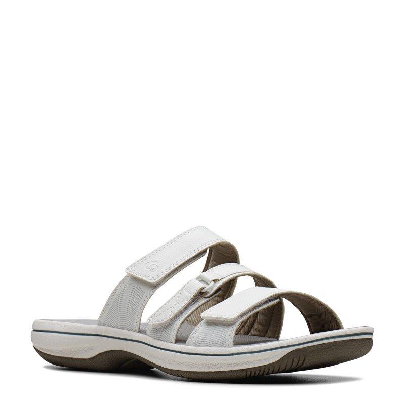 Clarks Women's Brinkley Coast Slide Sandals (White) | Slide