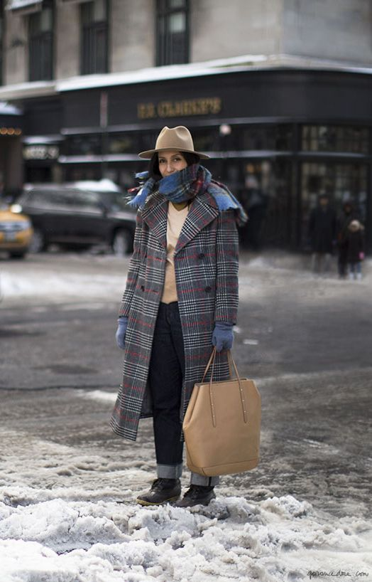 plaid oversize coat, fedora, woolen mittens, cuffed jeans, tote bag