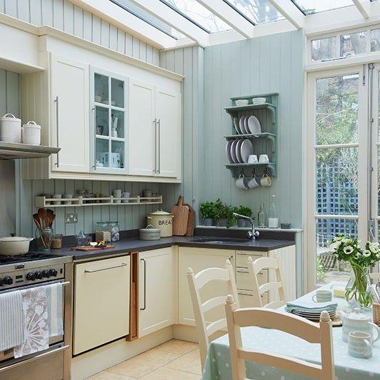 pale blue kitchen conservatory | conservatory ideas | conservatory
