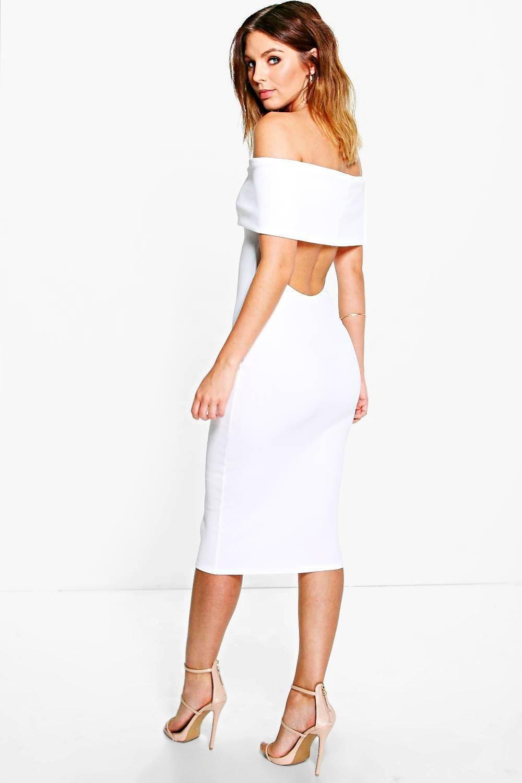 dc75ca79743f3 Oversized Bardot Open Back Midi Dress in 2019 | mykonos dresses ...
