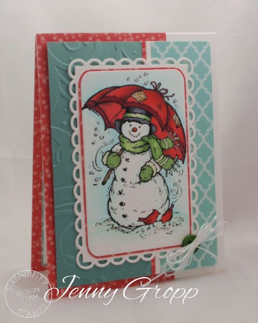 One Krafty Kat: Serendipity Stamps November Release Blog Hop.  Snowman with Umbrella stamp