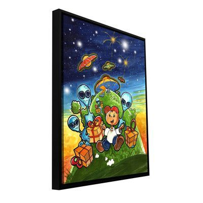"""ArtWall 'Happy Birthday' by Luis Peres Framed Graphic Art on Wrapped Canvas Size: 32"""" H x 24"""" W"""