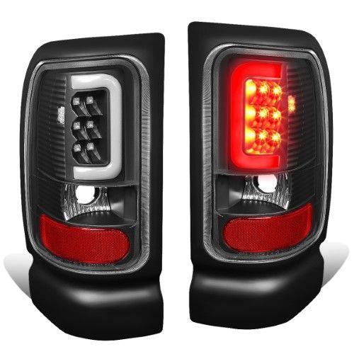 For 94 02 Dodge Ram 1500 2500 3500 Pair Of Black Housing Clear Lens Led U Bar Tail Brake Lights 96 97 98 99 00 01