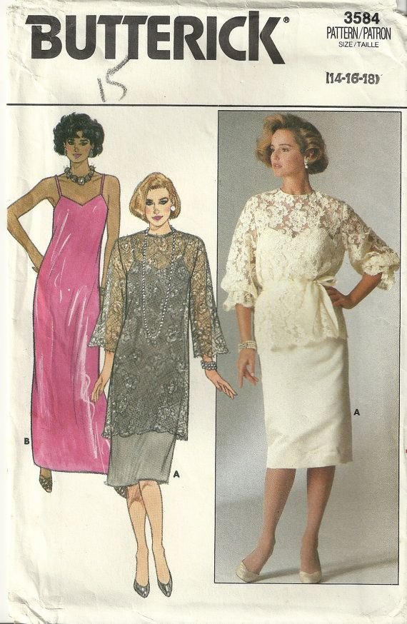 Plus Size Mother Of The Bride Dress Patterns Erick 3584 Sewing Pattern Vintage Slip
