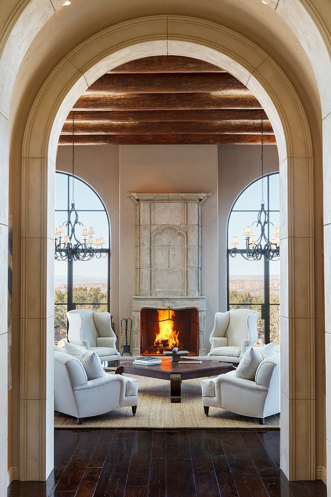 Santa Fe Opera By K M Skelly French Country House Mediterranean Living Rooms Architecture House #santa #fe #living #room