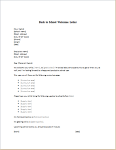 Back To School Welcome Letter Download At HttpWwwTemplateinn