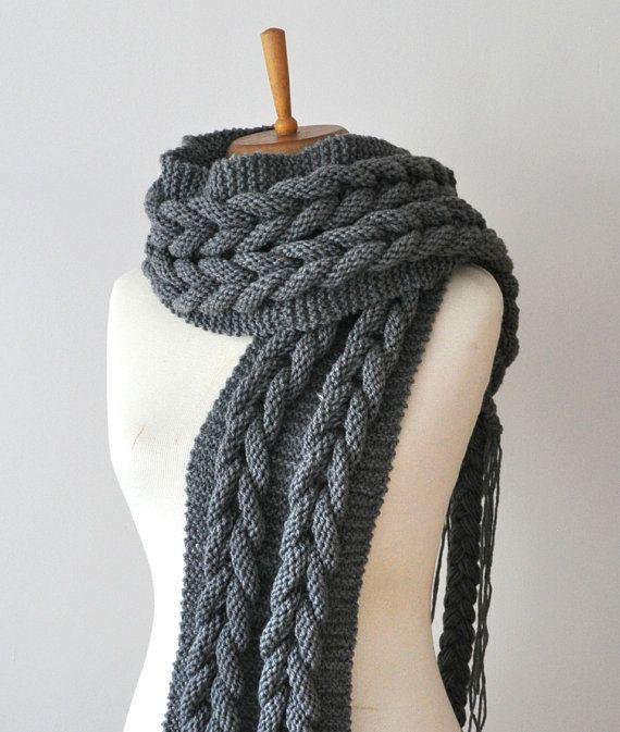 Kohle Schal - Kohle-stricken unendlich Schal, Kabel stricken riesige ...