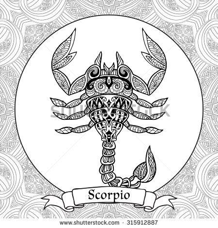 Coloring Page zodiac sign Scorpio in zentangle style