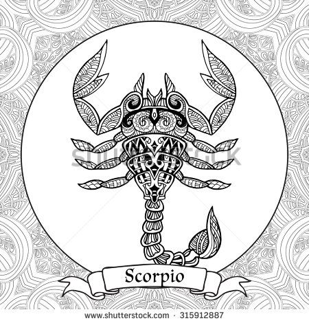 Coloring Page Zodiac Sign Scorpio In Zentangle Style Coloring