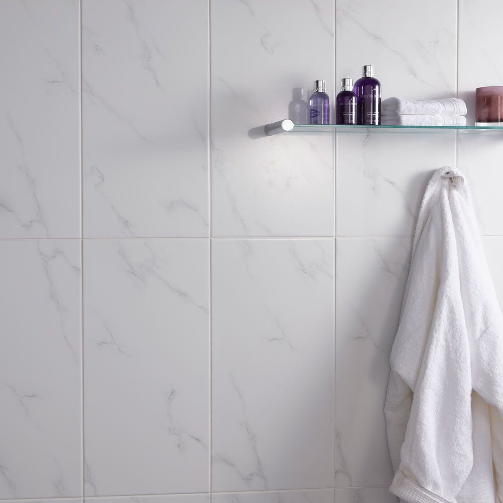 Marble makeover british ceramic tile - Ceramic White Carrara Marble Effect Wall Tiles From The Dorchester Tiles Range By British Ceramic Tile Bct