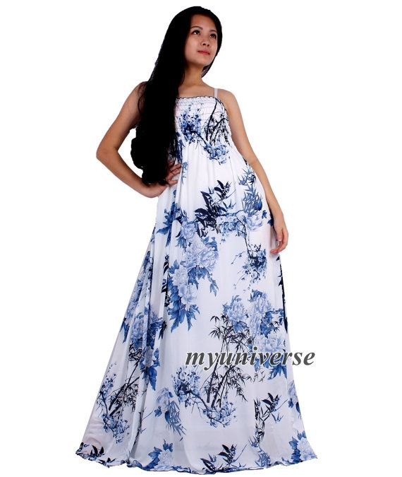 White Party Dress Maxi Dress Full Length Evening by myuniverse