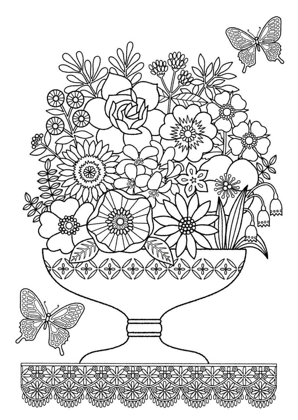 Floral vase to colour floral coloring pages for adults pinterest
