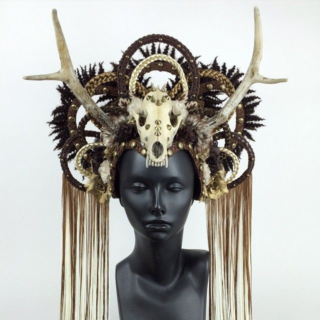 Here's a new favorite of mine. I love her colors. She is made with a faux skull and antlers.  I will have her up in the shop this afternoon.  www.etsy.com/shop/MissGDesignsShop  @missgdesigns skull by @markusmask #headdress #headpiece #crown #antlers #fauxantlers #skull #fauxskull #braids #goddess #festival #burningman #cosplay #missgdesigns #crazyasshat