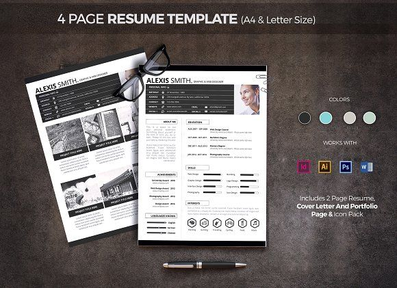 4 Page Resume Template by pallabip on @creativemarket Beautiful