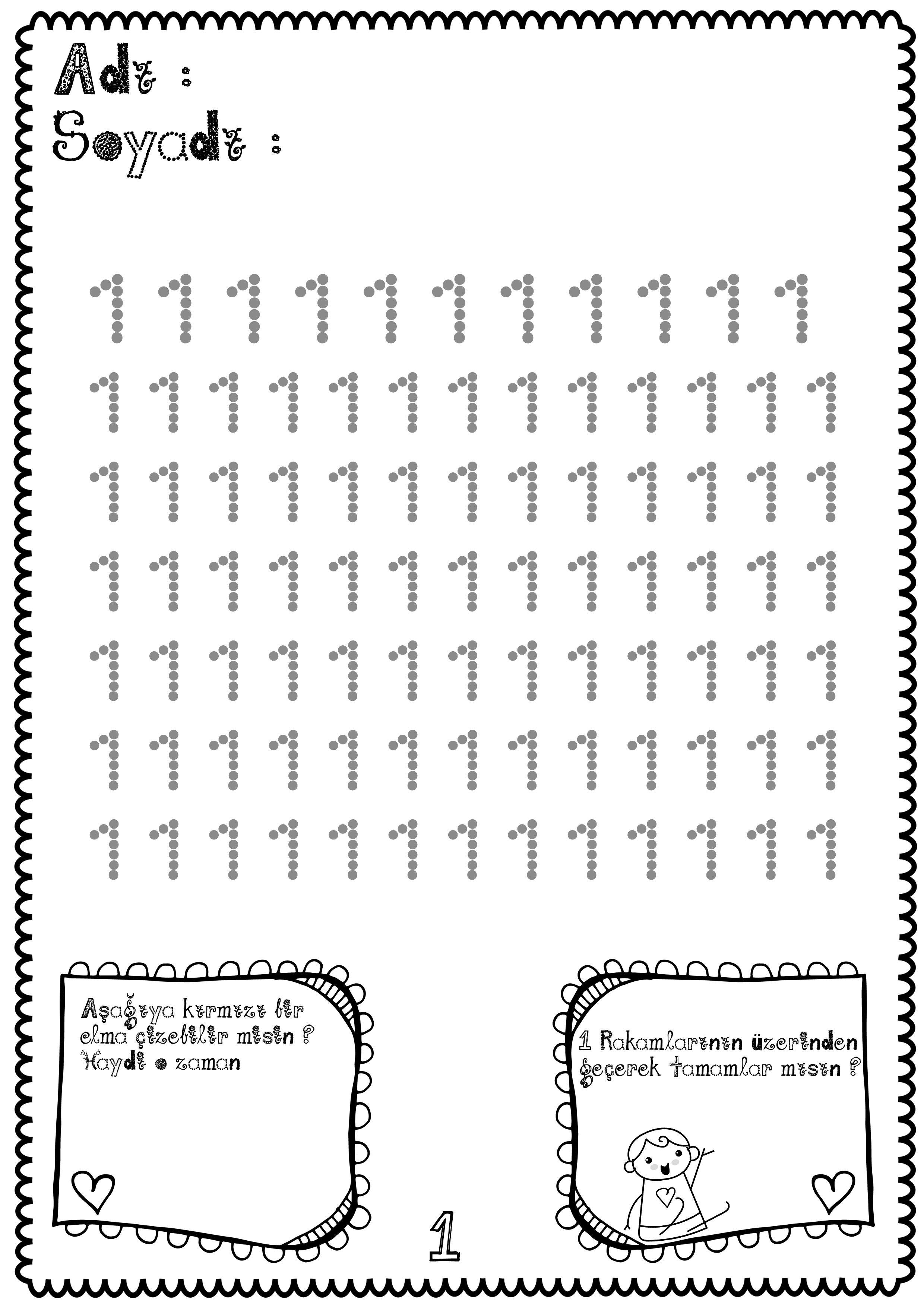Sayilar Calisma Sayfasi Matematik Okul Oncesi Egitim