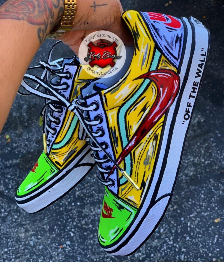 píldora templo Acumulación  Custom Cartoon Nike x Vans Collab – Katty Customs | Cartoon shoes, Custom  nike shoes, Custom shoes diy
