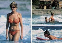 January 2, 1993: Princess Diana with Prince William and Prince Harry on holiday at Nevis Island in the Caribbean.