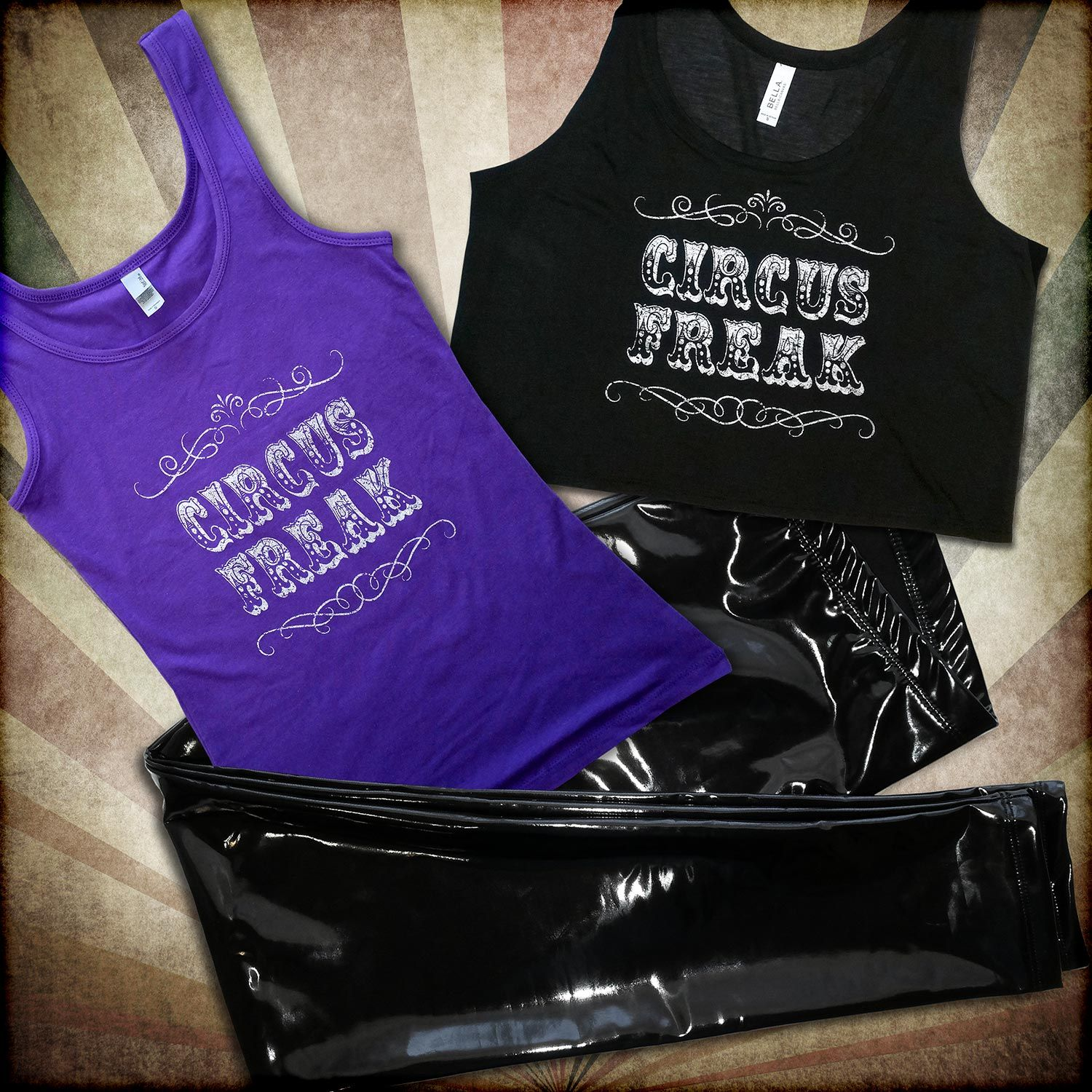760068ce737e8 Cleo The Hurricane s brand new Heroine Liquid Vinyl Leggings -- paired with  our very own Circus Freak tank top and Circus Freak crop top.
