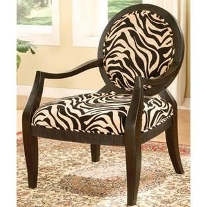 Adf Accent Chair With Zebra Print In Black Finish Animal Print