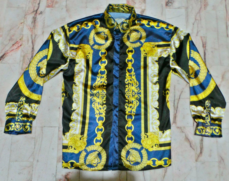 282e5f29b15 Versace-Inspired Gold Barroco Chains Medusa Head Print Shirt