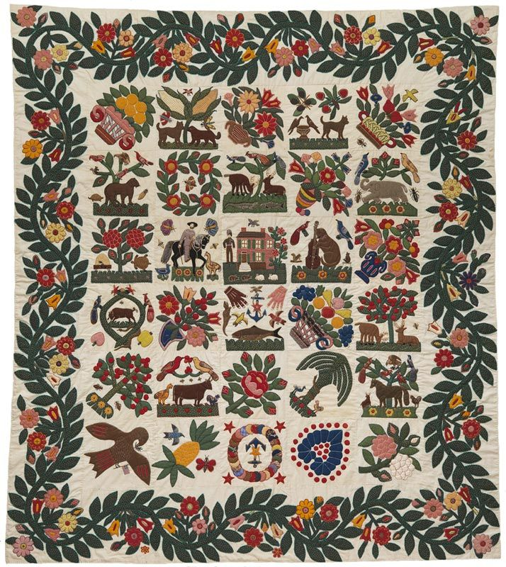 The Berger-Miller Family Album Quilt Top Baltimore, Maryland. c. 1850 Pieced, stuffed, and embroidered cotton and wool, 92 x 80 inches