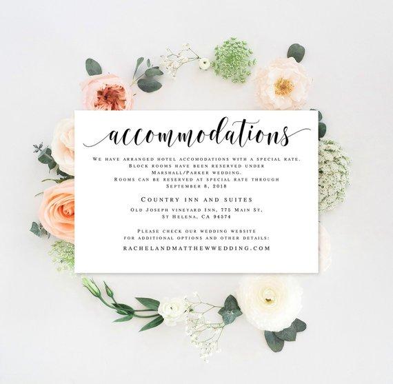 Accomodations card Editable templates Accommodation insert templates