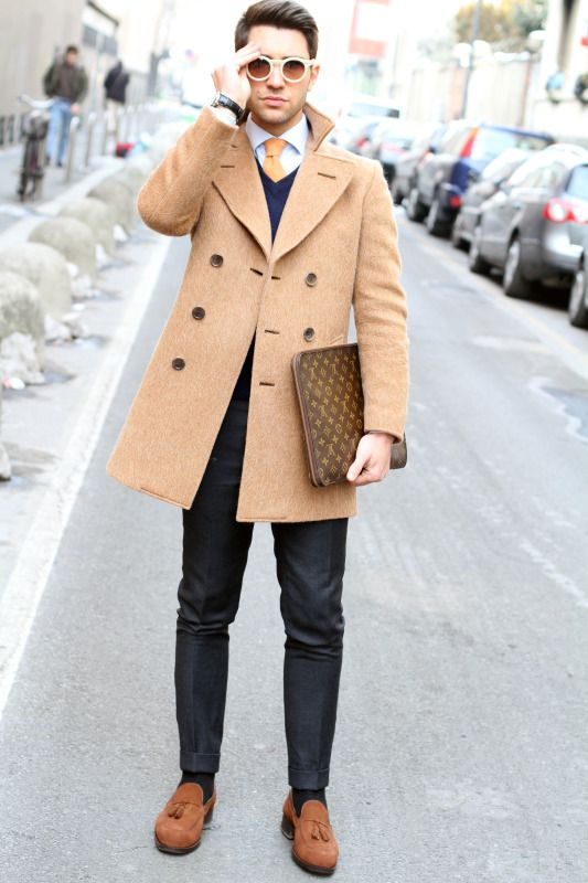 camel pea coat, loafers, LV portfolio | She. Wants. A. Gentleman ...