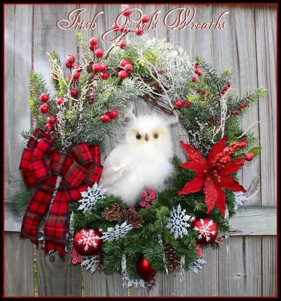 XL Rustic Woodland Winter Snow Owl Red Christmas Wreath, by IrishGirlsWreaths