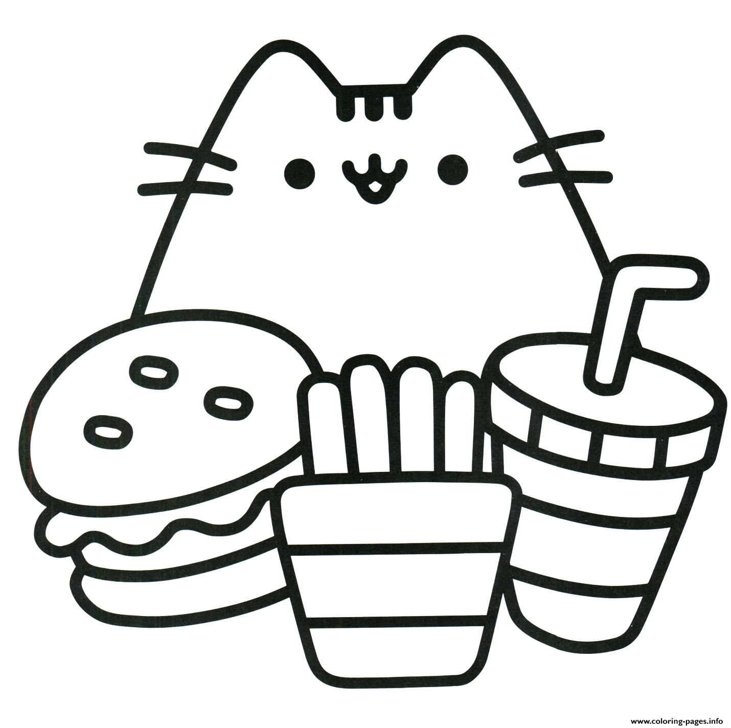 Print Pusheen Ready To Eat Food Coloring Pages Printables