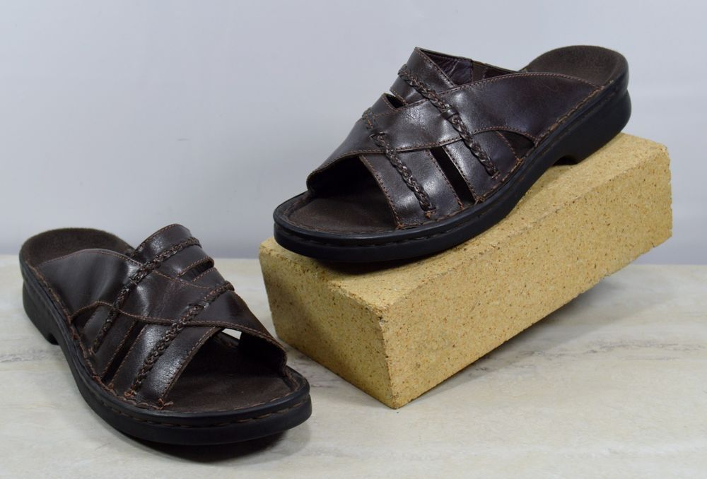 dca51b02e9b Clarks Women s Size 7 M Brown Braided Leather Slides Sandals 71454 Brazil   Clarks  Slides  Casual