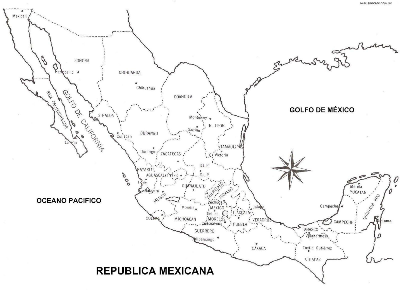 Mapa De Mexico Orografico Hidrografico Con Sin Nombres