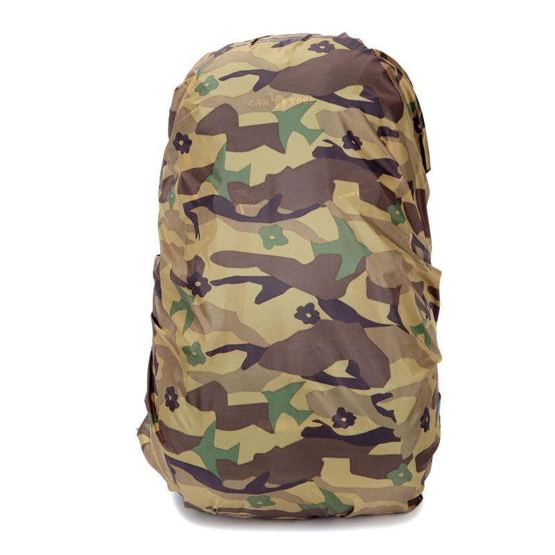7729025468 1pc Nylon Camouflage RainCover 30-40L Protable Waterproof Backpack Bag Rain  Cover For Travel Camping Hiking Cycling Outdoor