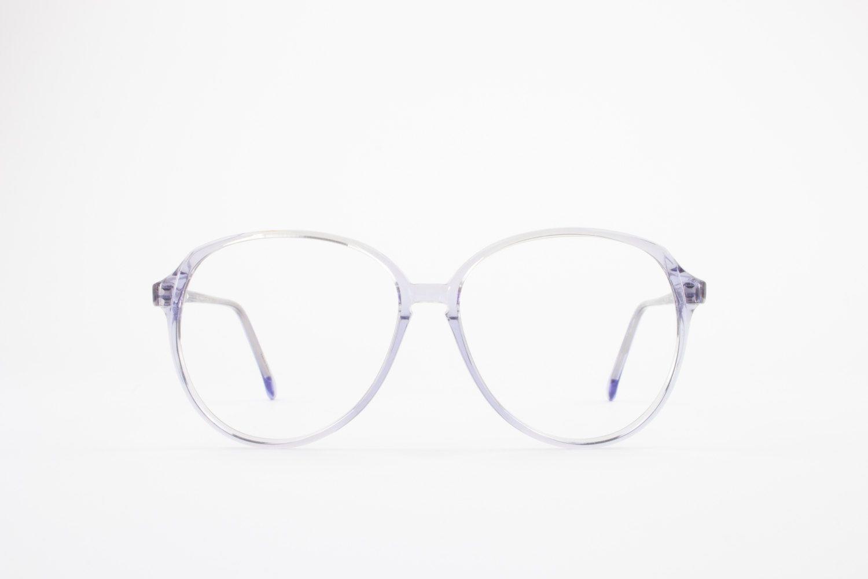 Vintage 80s Clear Blue Glasses Frame Oversized Round Eyeglasses Kathy By Blue Glasses Glasses Glasses Frames