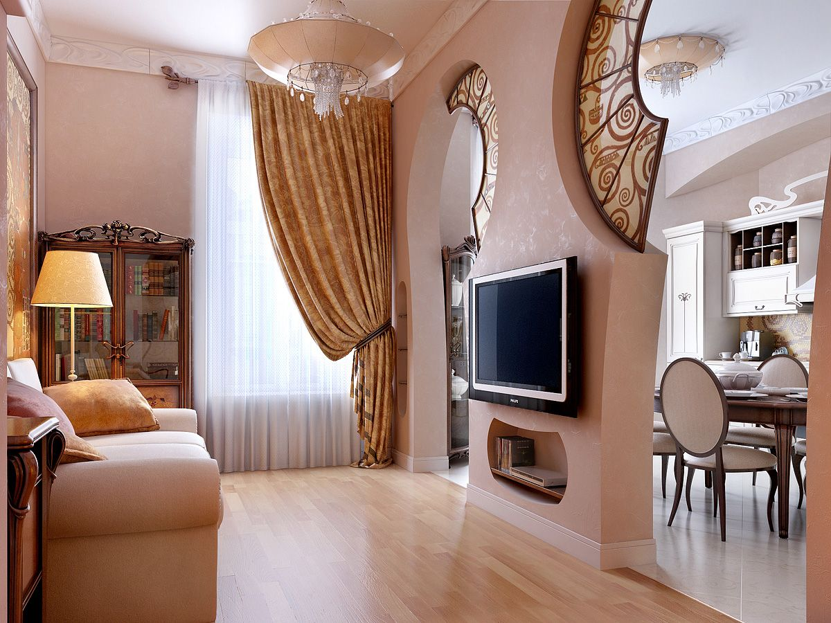 Living Room: Artistic Light Pink Beautiful Home Interior Design With Wooden  Floor, Living Room, Bed Sofa