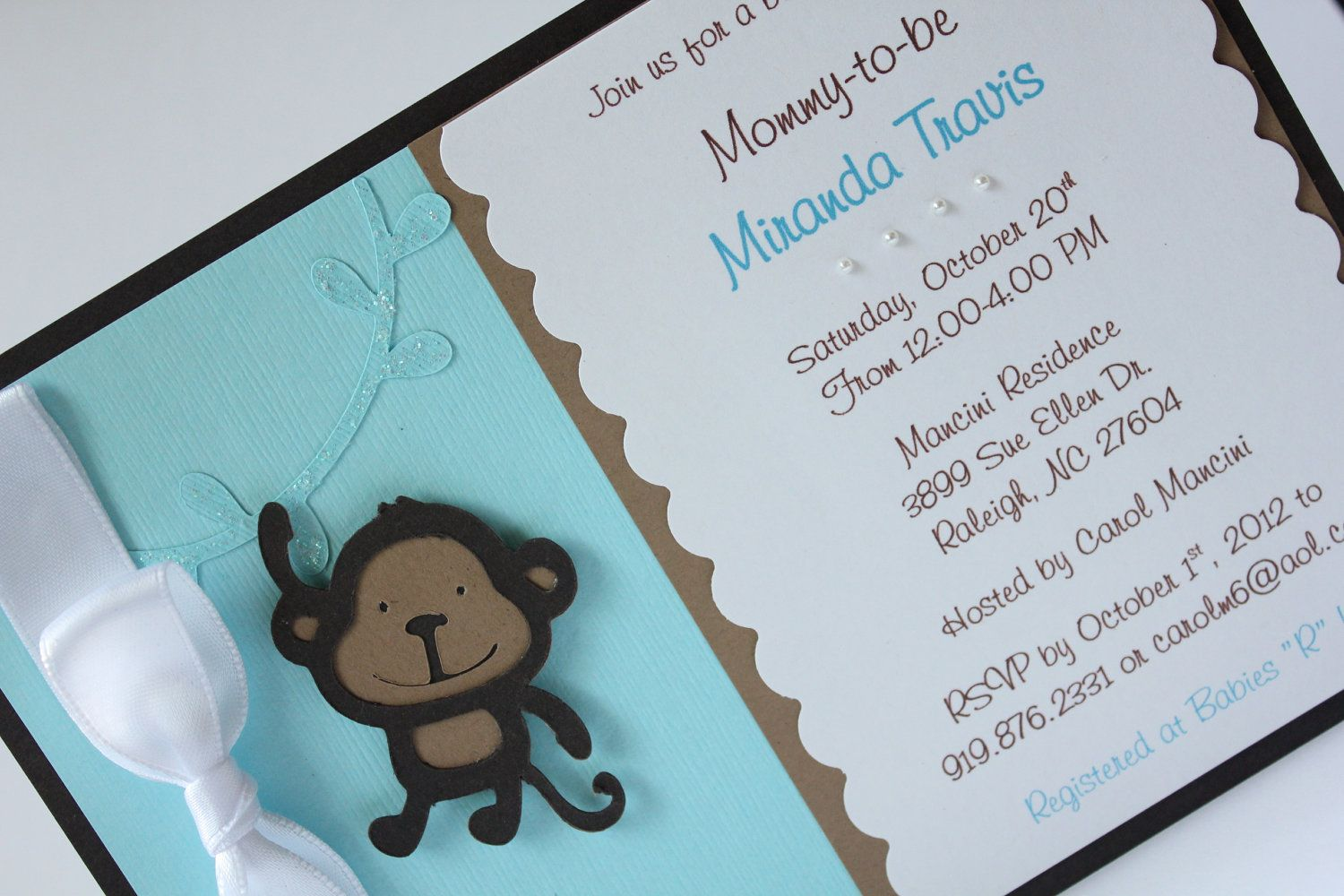 Reserved listing for andrea monkey themed baby shower invitation reserved listing for andrea monkey themed baby shower invitation blue personalize pearls newborn announcement filmwisefo Image collections