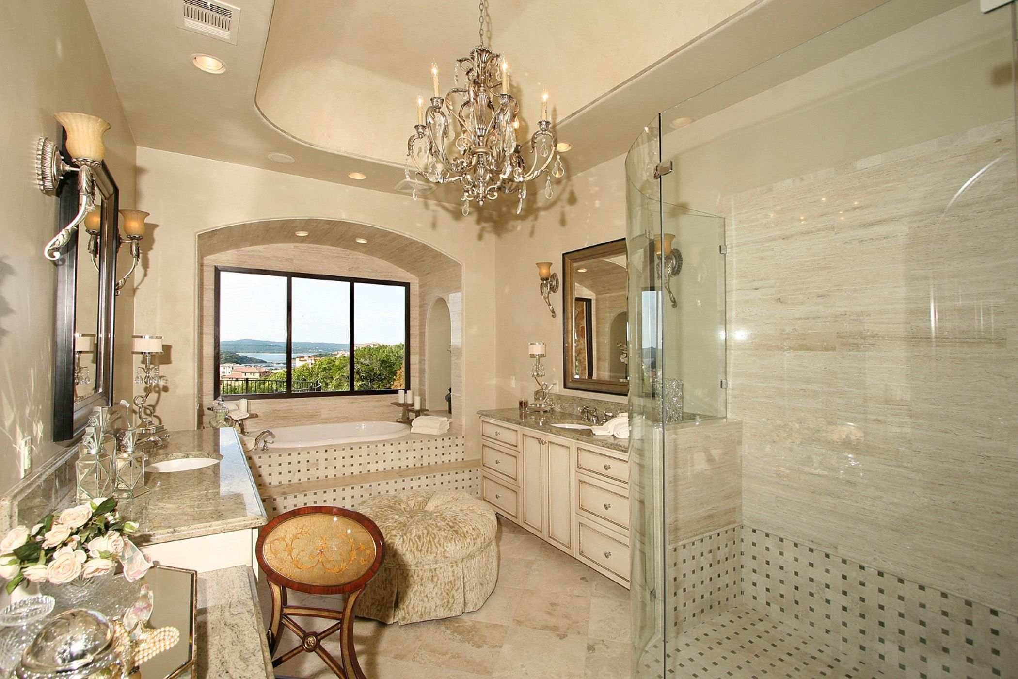 Rough hollow lakeway master bath elegance with view by Beautiful bathrooms and bedrooms magazine