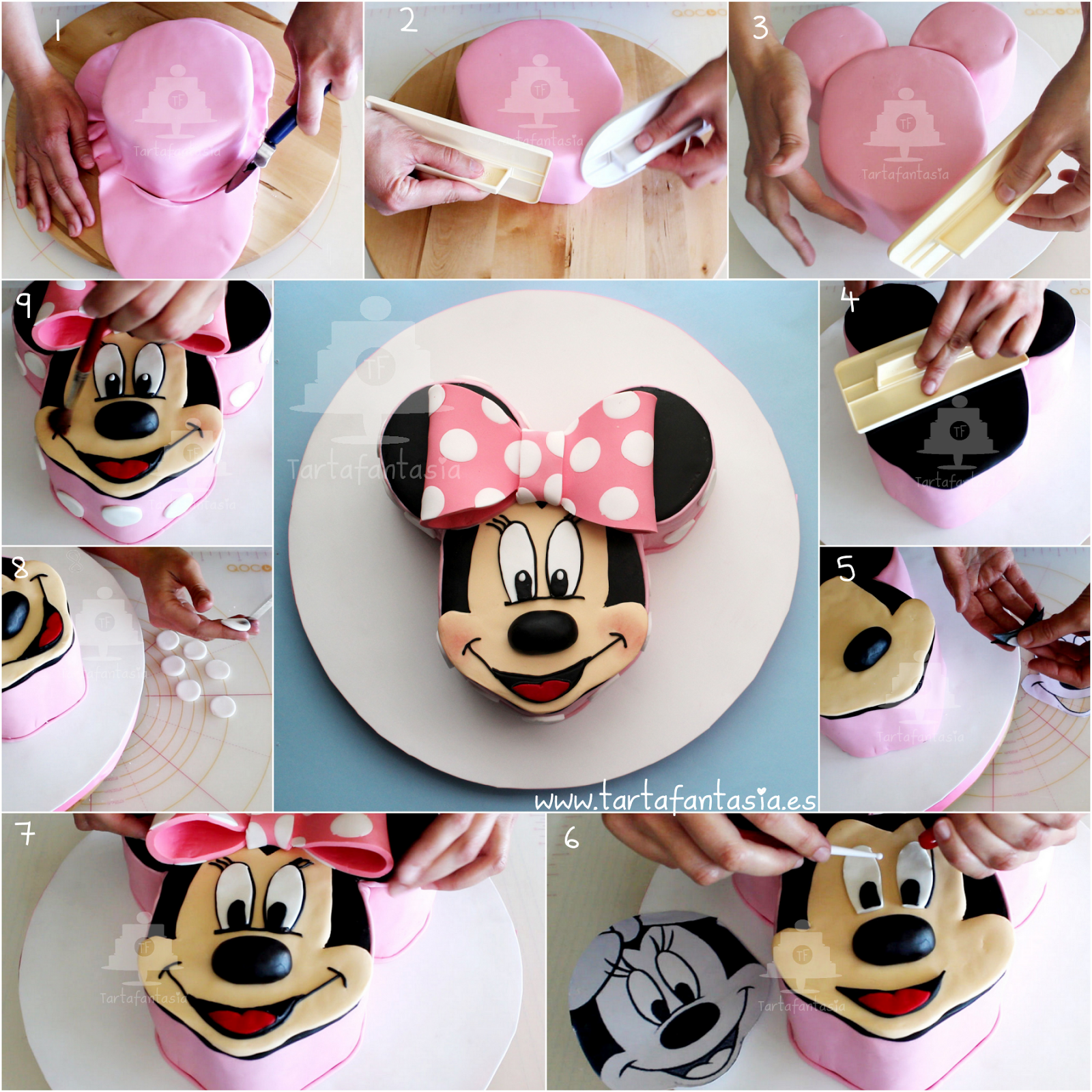 TartaFantasía: Footsteps Minnie Mouse Cake  Micky maus torte