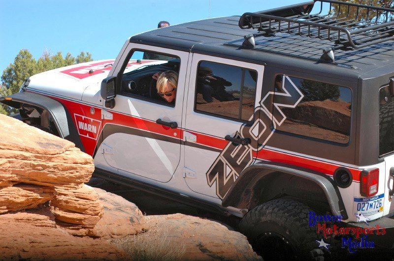 Jessi Combs driving the WARN Zeon Jeep JK at Moab Easter Jeep Safari 2013.  #jessicombs #jeep #jk #warn #goprepared #Moab