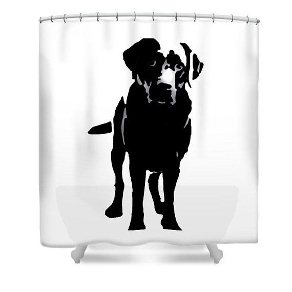 African American Girl with Dog Yorkshire Fabric Shower Curtain Bathroom Mat Rug